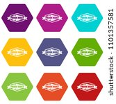 fresh meat product icons 9 set... | Shutterstock .eps vector #1101357581