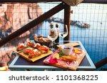 romantic dinner for two at...   Shutterstock . vector #1101368225