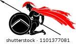kneeling spartan warrior | Shutterstock .eps vector #1101377081