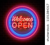 Neon Welcome Open Signboard On...