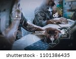 machine learning technology... | Shutterstock . vector #1101386435