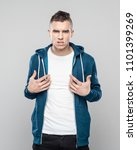 studio shot of angry young man... | Shutterstock . vector #1101399269