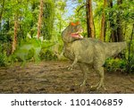 3D Illustration of Two Dinosaurs in a Forest