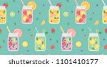 seamless pattern with lemonades.... | Shutterstock .eps vector #1101410177
