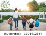 group of mother and kids... | Shutterstock . vector #1101412964