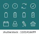 set battery line icon stock...   Shutterstock .eps vector #1101416699
