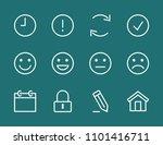 set smile line icon stock...   Shutterstock .eps vector #1101416711