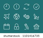 set aircraft line icon stock...   Shutterstock .eps vector #1101416735