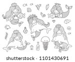 mermaids with dolphins  fish ... | Shutterstock .eps vector #1101430691