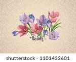 beautiful label with bouquet... | Shutterstock .eps vector #1101433601