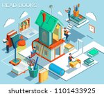 the concept of reading books... | Shutterstock .eps vector #1101433925