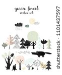 forest set   wolf and forest... | Shutterstock .eps vector #1101437597