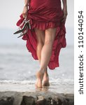Sexy Red Dressed Woman Walks O...