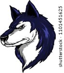 beautiful husky dog head.   | Shutterstock .eps vector #1101451625