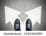 one standing at the crossroad... | Shutterstock . vector #1101466304