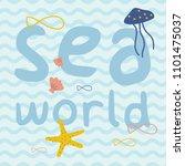 sea world with fish  starfish ... | Shutterstock .eps vector #1101475037