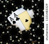 Small photo of black gambling chips and playing cards close up. Ace of spades and ace of crosses