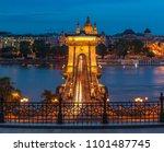 chain bridge at night  budapest ... | Shutterstock . vector #1101487745