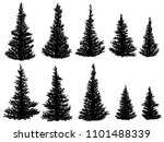 set of vector silhouettes of... | Shutterstock .eps vector #1101488339