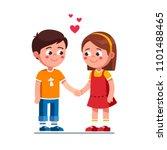smiling boy and girl kids... | Shutterstock .eps vector #1101488465