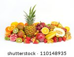 fresh tropical fruits | Shutterstock . vector #110148935