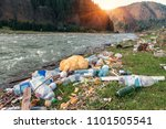 plastic garbage on the mountain ... | Shutterstock . vector #1101505541