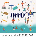 summer beach cartoon vector... | Shutterstock .eps vector #1101511067