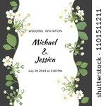 wedding invitation. flowers.... | Shutterstock .eps vector #1101511211