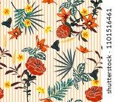trendy summer seamless garden... | Shutterstock .eps vector #1101516461