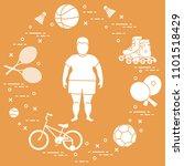 fat boy  badminton rackets and... | Shutterstock .eps vector #1101518429