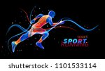 vector 3d runner with neon... | Shutterstock .eps vector #1101533114