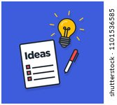 ideas written on a notepad with ... | Shutterstock .eps vector #1101536585