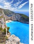 navagio beach on zakynthos... | Shutterstock . vector #1101537749
