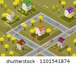 flat street and houses.... | Shutterstock .eps vector #1101541874