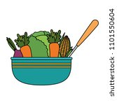 vegetables in kitchen bowl with ... | Shutterstock .eps vector #1101550604