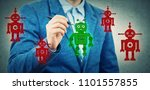 businessman drawing a different ... | Shutterstock . vector #1101557855