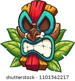 cartoon colorful tiki mask with ... | Shutterstock .eps vector #1101562217