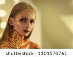 women face skin care. girl with ... | Shutterstock . vector #1101570761