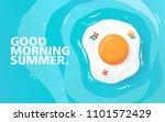 good morning  happy summer day. ... | Shutterstock .eps vector #1101572429