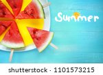watermelon slice popsicles on... | Shutterstock . vector #1101573215