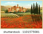 summer day in tuscany  italy.... | Shutterstock .eps vector #1101575081