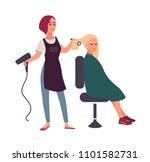female hairdresser blow dry... | Shutterstock .eps vector #1101582731