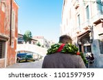 young man walking the streets... | Shutterstock . vector #1101597959
