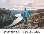 hiker man traveling alone... | Shutterstock . vector #1101602309