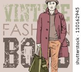 stylish dude with bag  on a... | Shutterstock .eps vector #110162945