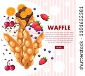 hong kong waffles. waffle with... | Shutterstock .eps vector #1101632381