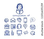 hand drawn communication icons... | Shutterstock .eps vector #1101635159