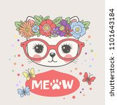 sweet cat girl face with floral ... | Shutterstock .eps vector #1101643184