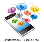 touchscreen smartphone with... | Shutterstock .eps vector #110164751