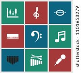 musical icon. collection of 9... | Shutterstock .eps vector #1101653279